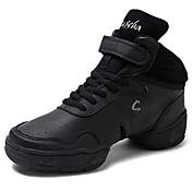Hombre Zapatillas de Baile Cuero real Suela Dividida Diario Tacón Personalizado Negro Personalizables