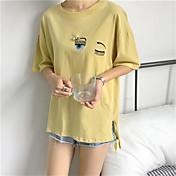 Mujer Simple Bonito Casual/Diario Camiseta,Escote Redondo Estampado Bordado Manga Corta Algodón