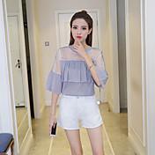 Mujer Blusa Un Color Poliéster