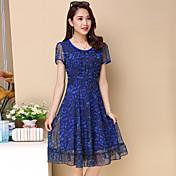 Mujer Tallas Grandes Línea A / Gasa Vestido - Estampado, Floral Hasta la Rodilla Azul