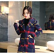 レディース お出かけ 秋 冬 コート,シンプル フード付き ソリッド レギュラー ポリエステル 長袖