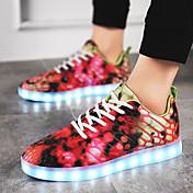 Mujer Zapatos Tejido Materiales Personalizados Semicuero Otoño Invierno Confort Zapatos con luz Zapatillas de deporte Con Cordón LED Para