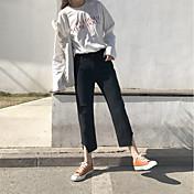 Mujer Casual Tiro Alto Microelástico Corte Recto Vaqueros Chinos Pantalones,Un Color Otoño