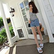 Mujer Casual Tiro Alto Rígido Corte Recto Shorts Pantalones,Un Color Verano