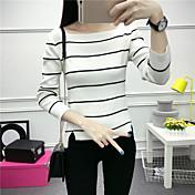 Mujer Regular Pullover Casual/Diario Simple,A Rayas Escote Redondo Manga Larga Piel Sintética Otoño Medio Microelástico