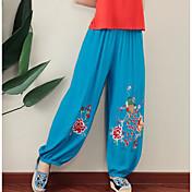 Mujer Sencillo Tiro Medio Microelástico Perneras anchas Pantalones,Perneras anchas Bordado