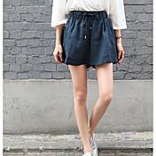 Mujer Sencillo Chic de Calle Tiro Alto Microelástico Shorts Pantalones,Corte Recto Un Color