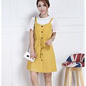 Mujer Corte Ancho Vestido Noche Casual/Diario Simple,Un Color Escote en Pico Sobre la rodilla Sin Mangas Algodón Verano Tiro Medio Rígido