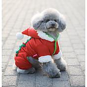 Perro Abrigos Saco y Capucha Mono Ropa para Perro Casual/Diario A Prueba de Agua Mantiene abrigado Navidad Copo Rojo Disfraz Para mascotas