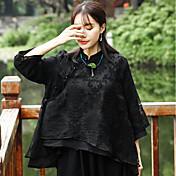 Mujer Simple Noche Camisa,Escote Chino Un Color Manga 3/4 Lino