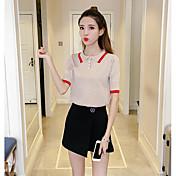 Mujer Regular Pullover Playa Simple,Un Color A Rayas Cuello Camisero Manga Corta Nailon Primavera Verano Fino Microelástico