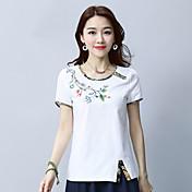 レディース カジュアル/普段着 Tシャツ,アジアン・エスニック ラウンドネック 刺繍 コットン リネン 半袖