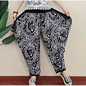 Mujer Sencillo Tiro Medio Microelástico Perneras anchas Pantalones,Perneras anchas Bloques