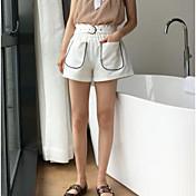 Mujer Casual Tiro Medio Microelástico Delgado Shorts Pantalones,Un Color Verano