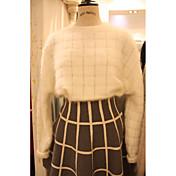 Mujer Regular Pullover Casual/Diario Simple,Un Color Escote Redondo Manga Larga Algodón Otoño Medio Microelástico