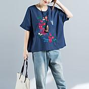 レディース カジュアル/普段着 Tシャツ,アジアン・エスニック ラウンドネック 刺繍 コットン ハーフスリーブ