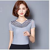 レディース カジュアル/普段着 Tシャツ,シンプル Vネック ソリッド レーヨン 半袖