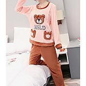 Mujer Traje Pijamas,Animales Algodón Poliéster Color Camello