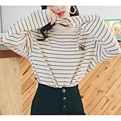 Mujer Corto Pullover Casual/Diario Simple,A Rayas Estampado Escote Redondo Mangas largas Algodón Primavera/Otoño Medio strenchy