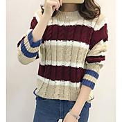 Mujer Regular Pullover Casual/Diario Bloques Escote Redondo Manga Larga Acrílico Medio Microelástico