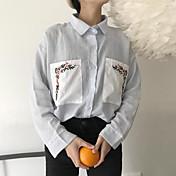 レディース カジュアル/普段着 シャツ,キュート シャツカラー ストライプ コットン 長袖