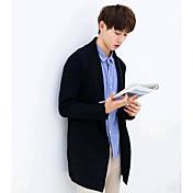 メンズ カジュアル/普段着 冬 トレンチコート,シンプル スタンド ソリッド レギュラー コットン 長袖