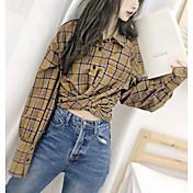 Mujer Bonito Casual/Diario Camisa,Escote Cuadrado Estampado Manga Larga Algodón