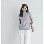 Mujer Regular Pullover Casual/Diario Un Color Escote Redondo Manga Larga Algodón Medio Microelástico