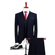ネービーブルー 純色 スタンダードフィット ポリエステル スーツ - ピークドラペル シングルブレスト 一つボタン