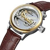 FORSINING Hombre Reloj de Moda Reloj de Vestir Reloj de Pulsera Cuerda Automática Resistente al Agua Huecograbado Cuero Auténtico Banda