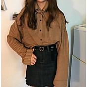 Mujer Bonito Casual/Diario Camisa,Cuello Camisero A Rayas Manga Larga Algodón