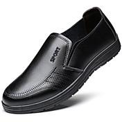 Hombre Zapatos Semicuero PU Cuero Patentado Otoño Invierno Confort Oxfords Con Cordón Para Casual Negro Marrón