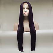 Mujer Peluca Lace Front Sintéticas Medio Largo Corte Recto Vino oscuro Peluca natural Pelucas para Disfraz