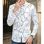 メンズ カジュアル/普段着 シャツ,ストリートファッション スクエアネック プリント ポリエステル 長袖