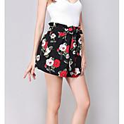 レディース ストリートファッション ハイライズ ショーツ マイクロエラスティック ショーツ パンツ フラワー