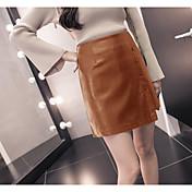 Mujer Trabajo Sobre la Rodilla Faldas,Línea A Otoño Invierno Un Color