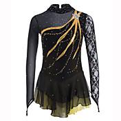 フィギュアスケート ドレス 女性用 女の子 アイススケート ドレス ブラック スパンデックス レース ラインストーン 性能 レジャースポーツ スケートウェア 手作り ソリッド ファッション 長袖 アイススケート フィギュアスケート