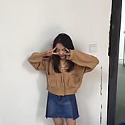 Mujer Regular Cardigan Ropa Cotidiana Simple,Un Color Escote en Pico Manga Larga Algodón Otoño Medio Microelástico
