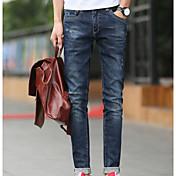 Hombre Simple Tiro Medio Microelástico Vaqueros Chinos Pantalones,Vaqueros Chinos Un Color