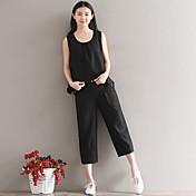Mujer Activo Tiro Medio Microelástico Ajustado Pantalones,Un Color Primavera Verano