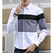 Hombre Chic de Calle Casual/Diario Camisa,Cuello Camisero Bloques Manga Larga Algodón Poliéster