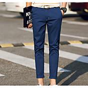 Hombre Casual Tiro Medio Microelástico Corte Ancho Chinos Pantalones,Un Color Algodón Todas las Temporadas