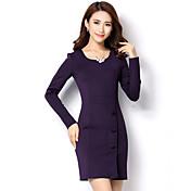 Mujer Línea A Vestido Casual/Diario Simple,Un Color Escote Redondo Hasta la Rodilla Sobre la rodilla Mangas largas Algodón Primavera Otoño