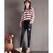 Mujer Casual Tiro Medio Microelástico Vaqueros Chinos Pantalones,Un Color Invierno Otoño