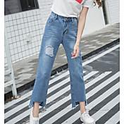 Mujer Casual Tiro Alto Rígido Chinos Pantalones,Un Color Primavera