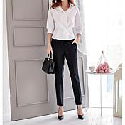 Mujer Casual Tiro Medio Rígido Chinos Empresa Pantalones,A Rayas Otoño