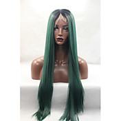 Mujer Peluca Lace Front Sintéticas Medio Largo Verde Entradas Naturales Peluca natural Pelucas para Disfraz