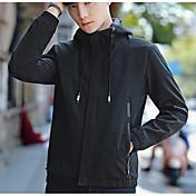 メンズ カジュアル/普段着 秋 ジャケット,シンプル フード付き ソリッド ショート ポリエステル 長袖