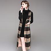 女性用 日常 お出かけ 冬 秋 ロング ベスト, ストリートファッション シャツカラー カラーブロック ウール ポリエステル エラステイン