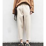 Mujer Casual Tiro Medio Microelástico Chinos Pantalones,Un Color Invierno Otoño